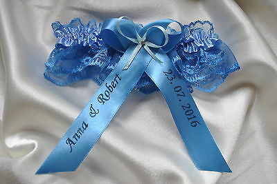 Blue lace wedding garter / PERSONALISED/ bridal- crystal- NEW