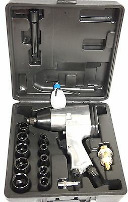 """17PC 1/2"""" Dr. Air Impact Wrench Set with Sockets Inline filter"""