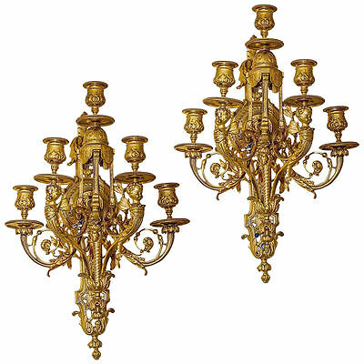 Pair Antique Gilt Bronze French Louis XVI Style Sconces