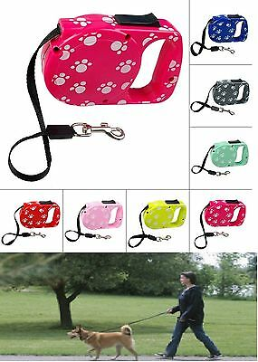 Print Paw Retractable Dog Puppy Pet Leash Lead 10Ft Long Max tension Collar Clip