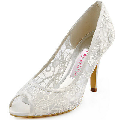 Ivory Women Stiletto High Heel Peep Toe Cut Out Lace Bridal Wedding Pumps Shoes