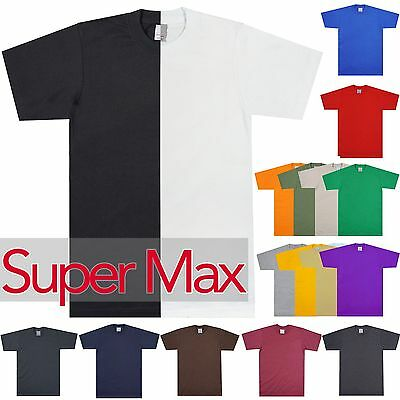 Mens HEAVY T-Shirts SUPER MAX Cotton Plain Tee Crew Neck Short Sleeve Tall