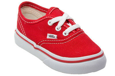 Vans Authentic Red White Canvas Infant Toddler Baby Boy Girl Shoes Size 4-10