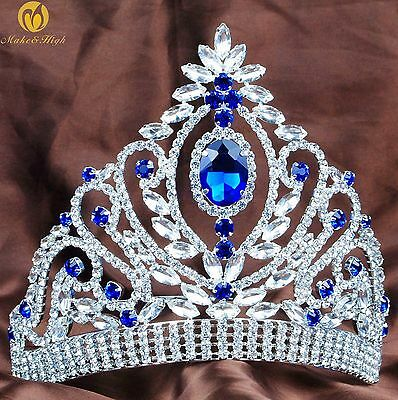 Blue Rhinestones Tiaras Crowns Crystal Hair Jewelry Wedding Bridal Pageant Prom