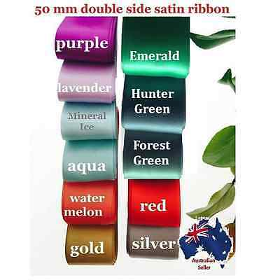 50mm x2m Double Side(faced) Satin Car Ribbon for Wedding invitation&Hairbows.