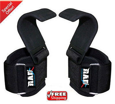 RAD Heavy Duty Weight Lifting Hooks Wrist Support Straps Power Gripper Chin Up