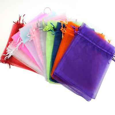25/50/100PC Sheer Organza Wedding Party Favor Gift Candy Bags Jewelry Pouches AU