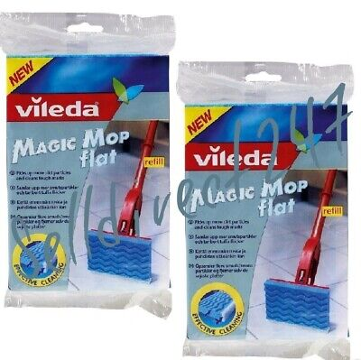 2X Vileda Magic Flat Mop Cleaning Flash Floor Refill Head 3D Grooved Surface New