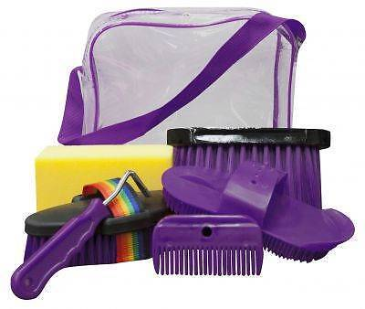 Showman 6pc PURPLE Horse Grooming Kit w/ Plastic Carrying Bag! NEW HORSE TACK!