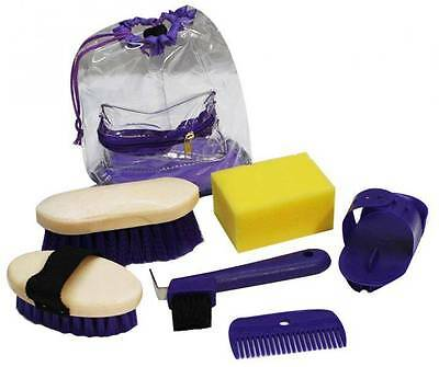 Showman PURPLE 6 Piece KIDS SIZE Horse Grooming Kit with Plastic Carrying Bag!