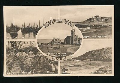 Scotland BANFFSHIRE Buckie Greetings From c1930/50s? PPC Valentine Sepiatype