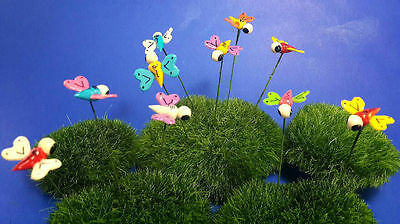 20 Tiny Multi-colors Butterfly Miniature Dollhouse FAIRY GARDEN Accessories