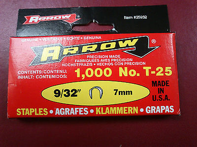 Arrow T25 Staples Box of 1000 7mm
