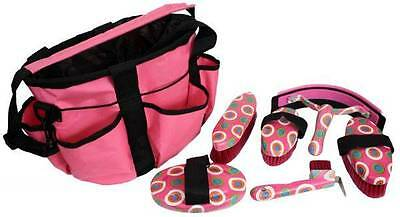 PINK 6 Piece Colorful Dot Design Horse Grooming Kit w/ Nylon Carrying Bag! TACK!