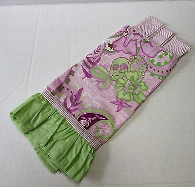 My Baby Sam Paisley Lime Green Purple Orchid Stripe Tab Top Valance New