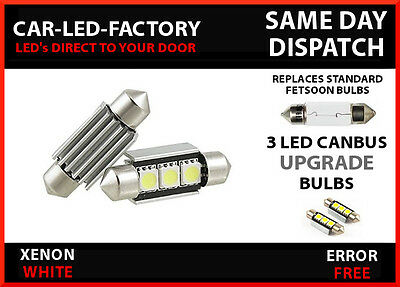 Ford Fiesta Mk 6 Canbus No Error Number Plate 3 Led Light Bulbs 36Mm 239 C5W