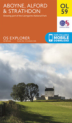 ABOYNE, ALFORD STRATHDON Map - OL 59 - OS -Ordnance Survey  INC. MOBILE DOWNLOAD