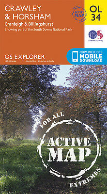 CRAWLEY & HORSHAM ACTIVE Map - OL 34 - OS  Ordnance Survey INC. MOBILE DOWNLOAD