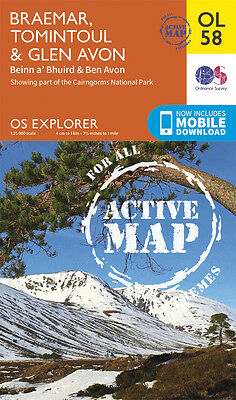 BRAEMAR, TOMINTOUL ACTIVE Map - OL 58 - OS -Ordnance Survey INC. MOBILE DOWNLOAD