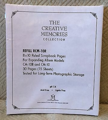 Creative Memories Collection 8X10 Ruled Refill Pages RCM-10R 15 Sheets NIP