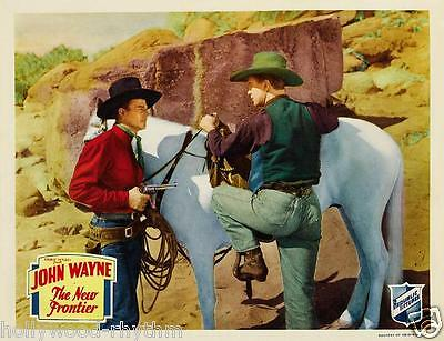 JOHN WAYNE Holds Gun On Cowboy In THE NEW FRONTIER 11x14 Western LC Print 1935