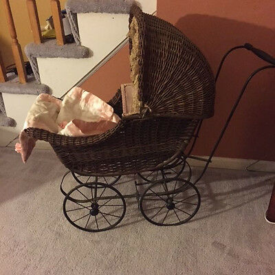 Carriage Buggy Antique Doll Wicker Stroller Pram Victorian Canopy Convertib