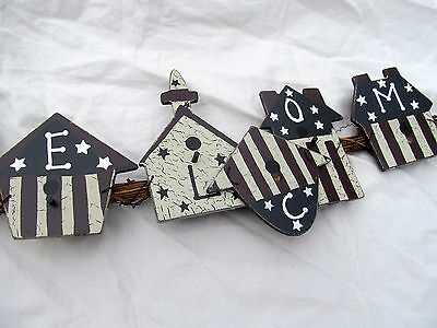 Americana Garland Patriotic Bird Houses Welcome Sign 4th of July Wall Hanging