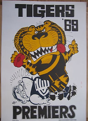 1969 Richmond Limited Edition Weg Premiers poster Tigers