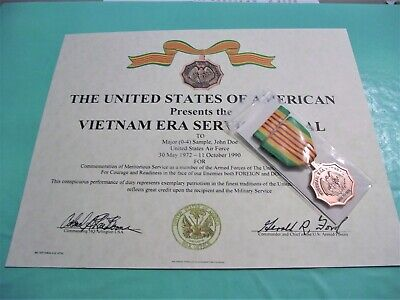 VIETNAM ERA MEDAL & Ribbon with Certificate Army Navy Air Force USMC Coast Guard