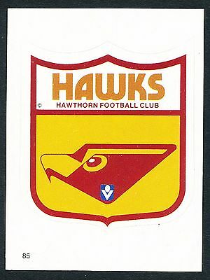 Scanlens 1984 Sticker No. 85 Hawthorn Club Emblem Logo Hawks