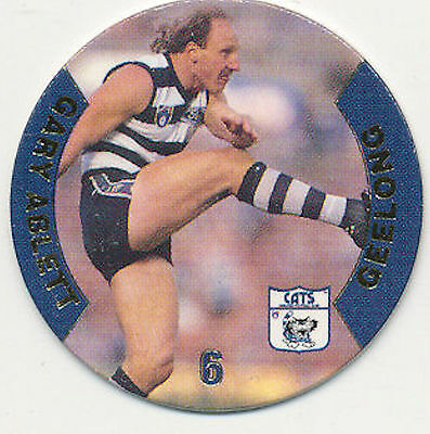 1995 Victorian Coca Cola Footy Faces Geelong Gary Ablett # 6 Pog Cats