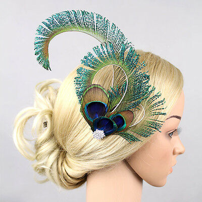 Vintage Peacock Feather Headpieces Fascinator Hair Clip Bridal Wedding Party