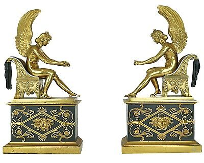 Pair Antique Bouhon Freres French Empire Style Gilt Bronze Chenets Firedogs Andi