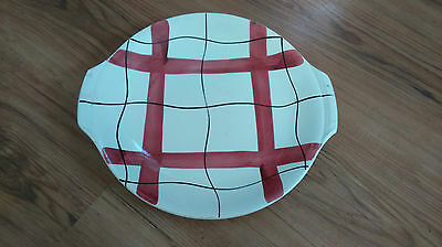 Vintage 1950s China 24cms Cake Plate Checked Pattern Habitant VGC