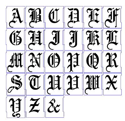 ALPHABET STENCIL AIRBRUSH STENCILS LETTER TEMPLATES 25mm OLD ENGLISH CALLIGRAPHY