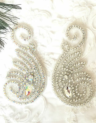 Beautiful Crystal Motif Diamante Applique Stitch On Bridal Fabric Patch