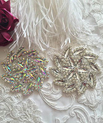 A Grade Crystal Motif Diamante Applique Stitch On Bridal Fabric Patch