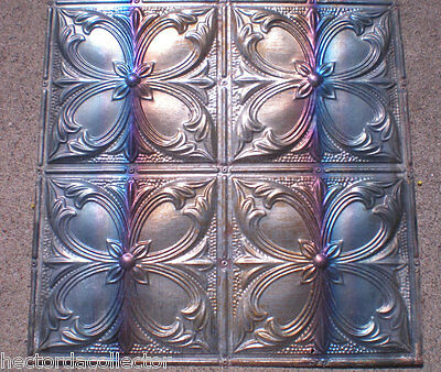 Antique Victorian Ceiling Tin Tile Gorgeous Iridescent Quatrefoil Flower Chic