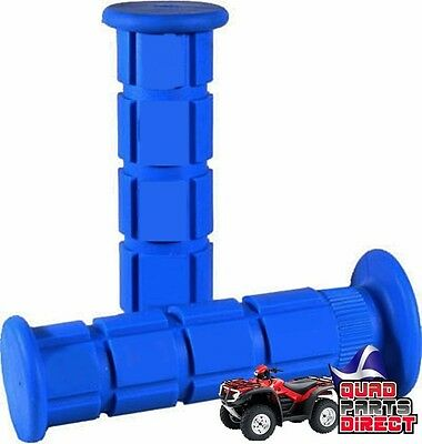 Atv Quad Non Slip Handlebar Grips Soft Compound In Blue For Thumb Throttle Only
