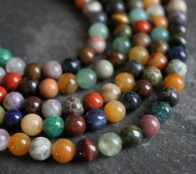 """Mixed 8mm round gemstone beads. 15.5"""" strand (approx 50 beads) SP236"""