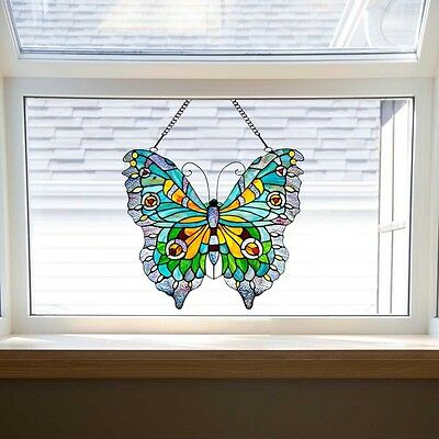 """River of Goods 20.5"""" H Stained Glass Swallowtail Butterfly Window Panel"""
