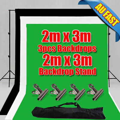 Photo Black White Chromakey Green Screen Backdrop Stand 1.6X3M Background Kit