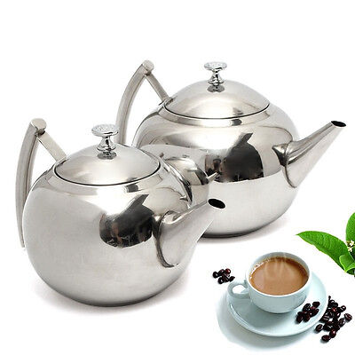 2000ML Stainless Steel Teapot Tea Pot Coffee With Tea Leaf Filter Infuser New