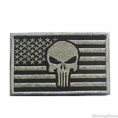 Punisher Skull American Flag  US Military Tactical Morale Patch Badge Gray