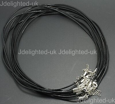 """Top Quality Real Leather Cord Thread Necklace Thread Silver Plated Lobster 18"""""""