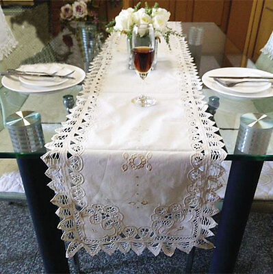 Elegant Hand Wide Batten Lace Inserted Embroidery Cotton Beige Table Runner LONG