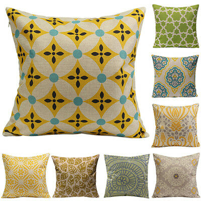 Geometric Flower Linen Cotton Throw Pillow Case Cushion Cover Home Sofa Decor