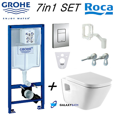 Grohe Rapid Sl Wc Frame + Roca Gap Wall Hung Toilet Pan With Soft Close Seat