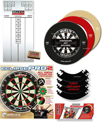 Unicorn Eclipse Pro 2 + Quarterback Dartboard Surround + Option Tafel
