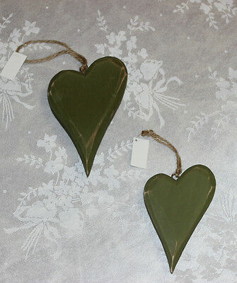 2 Rustic Hearts Wooden Shabby Chic Country Distressed Look Indoor Home Decor